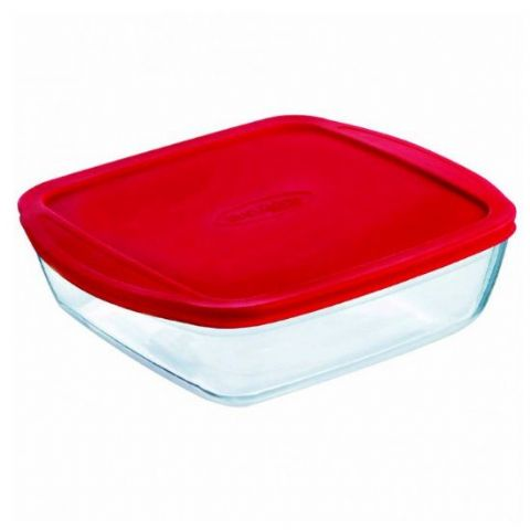 Pyrex OCuisine Square 1.7L 26cm Glass Fridge Freezer Food Box Container Oven Dish with Lid